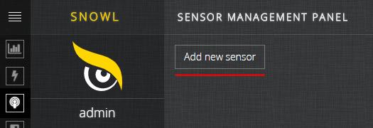 Snowl Add new sensor button